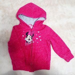 Disney Minnie Mouse Pink Full Zip Up Hoodie